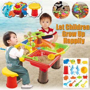 2-in1-Sand-und-Wasserspieltisch-Sandkastentisch-Kinderspieltisch-Strandspielzeug