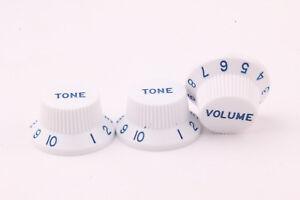 FidèLe Knob Set (3) Style White/blue Lettres & Numbers Adapté Pour Strat ® Us/cts Potis-afficher Le Titre D'origine