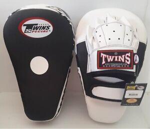 TWINS  FOCUS MITTS PML-21 LONG ORANGE BLACK PUNCHING MUAY THAI BOXING MMA K1