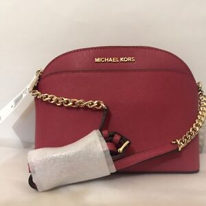 e2cc4a604a86 Michael Kors EMMY Small Dome Satchel & Crossbody Cherry Red Leather ...