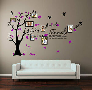 Family Tree Bird Photo Frame Wall Stickers Quote Art Wall Decals