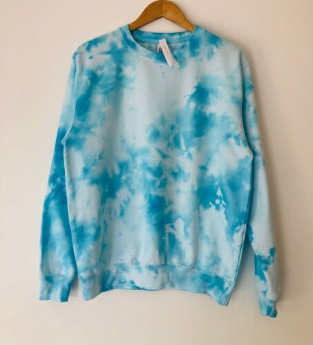 TIE DYE blue winter jumper sweater baggy sky casual  hoodie oversize  ALL SIZES
