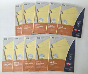 LOT OF 10 Sets Avery 8-Big Tab Insertable Dividers Clear Big Tabs 11112 NEW