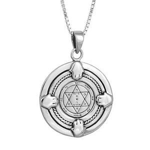 Pendant-Health-Seal-King-Solomon-Amulet-w-Hamsa-Pentacle-Sterling-Silver