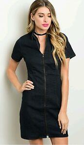 Womens Black Denim Dress Size Small Medium Large Trendy ...