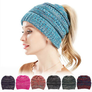 Image is loading Women-Beanietail-Messy-High-Bun-Ponytail-Stretchy-Knit- 42f102651649