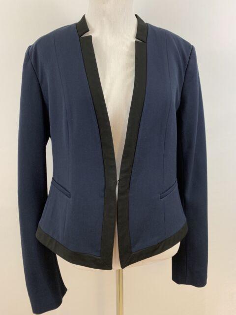 Ann Taylor Women's Size 8 Jacket Blazer Navy Blue Black Lined Career
