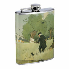 Vintage Fishing D8 8oz Hip Flask Stainless Steel Sports Fisherman Nature Hobby