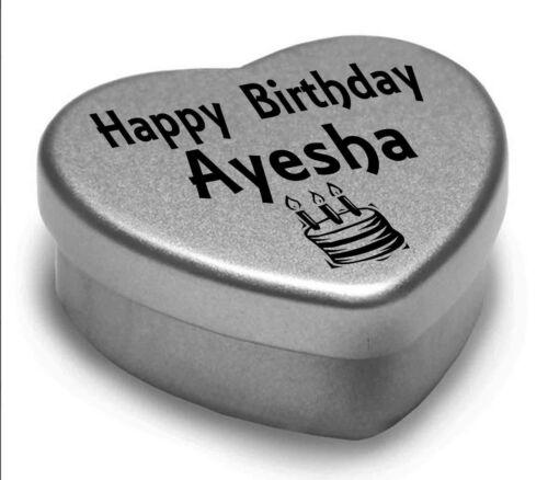 Happy Birthday Ayesha Mini Heart Tin Gift Present For Ayesha WIth Chocolates