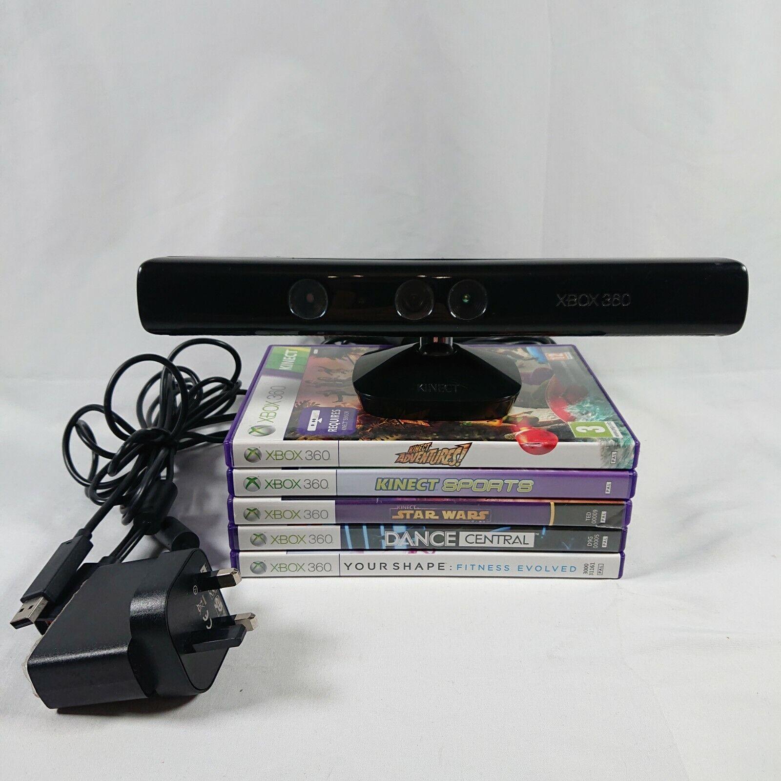 Xbox 360 Kinect Sensor Model 1414 Tested with Mains Plug 5 Kinect Games Bundle