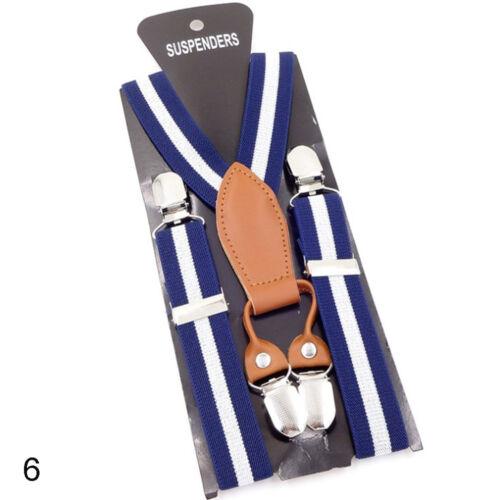 Kids Children Elastic Adjustable Suspender Three Clip Button Y Back Trouser