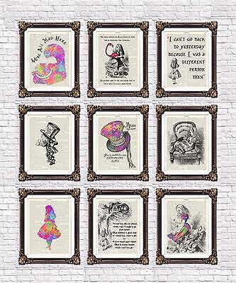 Alice In Wonderland Vintage Dictionary Art Prints Mad Cheshire Cat Quotes Hatter Ebay