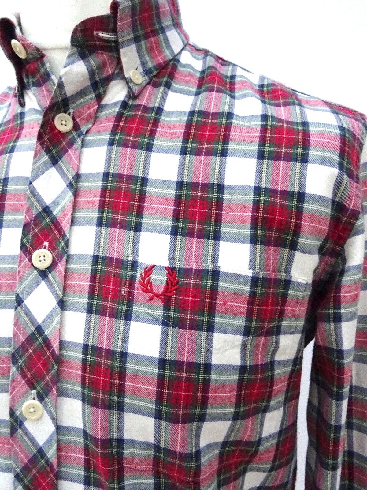 FRED PERRY UOMO Superbo Superbo Superbo  RRP caldo Tartan Check camicia taglia small  3444 10b71f
