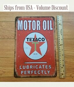 Vintage-TEXACO-Sign-Texaco-Gas-Station-Sign-Texaco-Motor-Oil-Metal-Sign-Red-Art