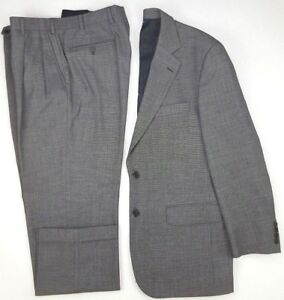 Brooks-Brothers-Suit-40R-Birdseye-Mens-Size-2-Button-Wool-Blend-Stretch-Pleated