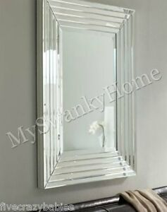 image is loading large layered designer wall mirror modern glass frame - Large Designer Wall Mirrors