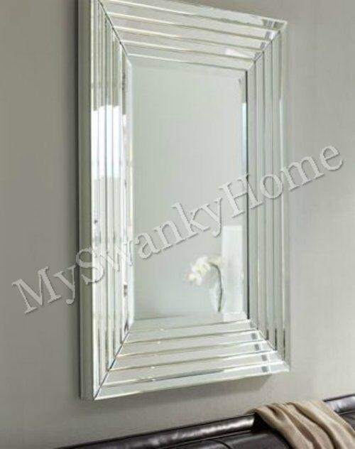Large Layered Designer Wall Mirror Modern Glass Frame Frameless Venetian  Horchow