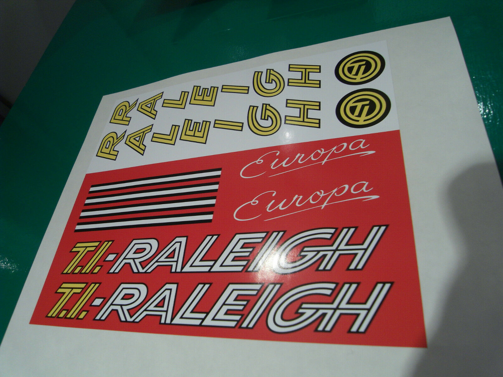 Vintage Raleigh  Europa  decal set for 1982-1983 frames. New artwork and print.