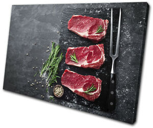 Beef-Raw-Steak-Slate-Chop-Food-Kitchen-SINGLE-CANVAS-WALL-ART-Picture-Print