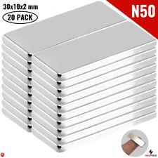 20pcs N50 30x10x2mm Iman Neodimio Neodymium Magnets Rectangularbar Cabinets Diy