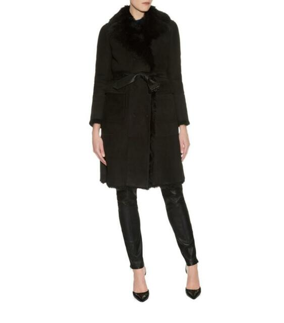 408cb3efe7d3f5 Frequently bought together. BURBERRY WOMEN Priorswood Long Shearling Fur  coat Jacket Black Revere Collar ...