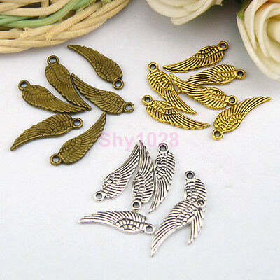 35Pcs Tibetan Silver,Gold,Bronze Tiny Wing Charm Pendants Drops 17x5mm M1104