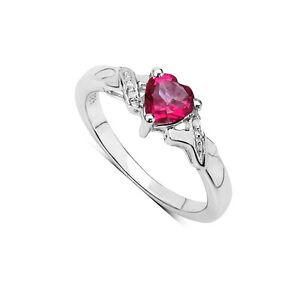Argento-Sterling-1-00CT-Rosa-Topazio-Cuore-amp-Diamante-Fidanzamento-Anello-Misura
