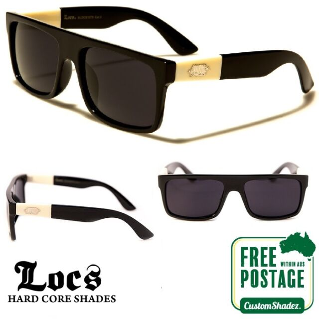 b5df5fddf39 Locs Sunglasses - Retro Flat Top Frame -Gloss Black Finish- Free Shipping  In AUS