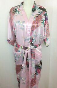 Tian-Bao-Gong-Womens-Medium-Robe-Pink-Floral-Peacock-Open-Front-Belt
