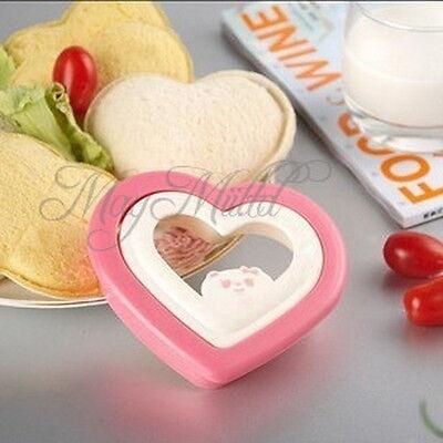 DIY Cute Tools Plastic Pink Heart Sandwich Maker Bread Cake Mold Cutter New J