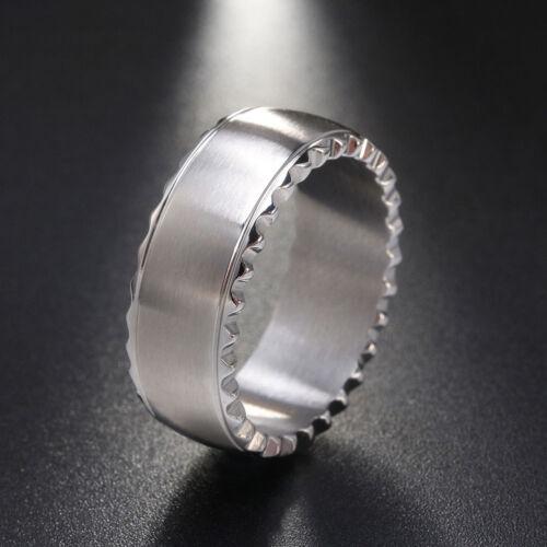 Fashion Men Women Stainless Steel Wedding Band Ring Silver Black Size 6-11