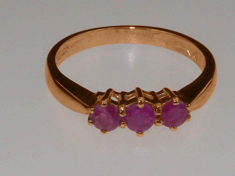 Solido 14ct rosa oro Naturale Rubino Da donna trilogia anello-Taglie anello-Taglie anello-Taglie J a Z 30301b