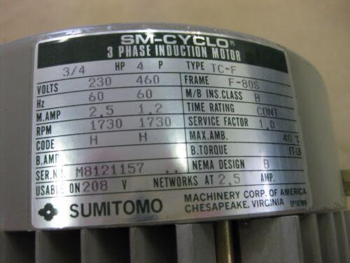 Sumitomo SM-Cyclo 3//4 HP TC-F Induction Motor  230-460VAC 3 Phase F-80s Japan