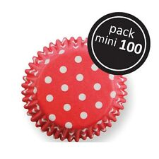 100 CHRISTMAS mini cupcake cases baking muffin cake petits fours red with white