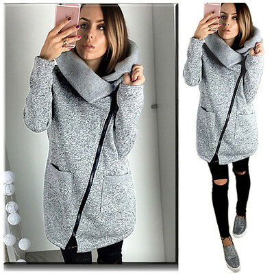 Fashion Women's Casual Hooded Jacket Coat Long Zipper Sweatshirt Outwear Tops