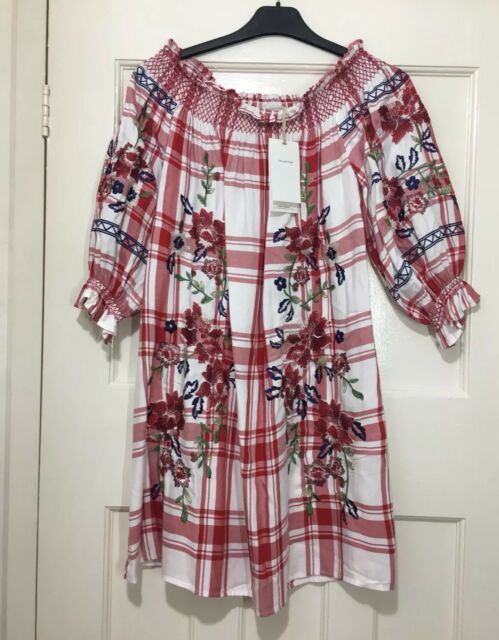 01b5d4c4a88 ZARA RED OFF THE SHOULDER CHECKED DRESS WITH FLORAL EMBROIDERY SIZE S BNWT