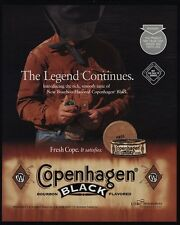 2001 Cowboy In Black Hat Takes Pinch OF COPENHAGEN Black VINTAGE ADVERTISEMENT