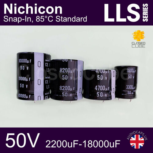 Nichicon LLS 50V 2200uF-18000uF Snap-in Terminal 85C Standard Capacitors