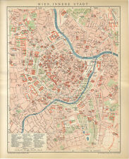 Wien Stadtgebiet Umgebung Landkarte Stadtplan Bauten Hofburg Brockhaus 5009