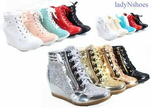 NEW-Glitter-Sneaker-Women-039-s-High-Top-Lace-Up-Wedge-Booties-Shoes-Size-5-5-10