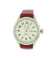 Fila FA0796-G Highway Men's Round Cream Automatic Day Date Red Leather Watch