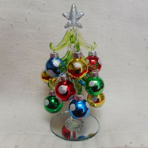 """NEW Silver Star 6/"""" Glass Christmas Tree with Multi-Color Ornaments from Ganz"""