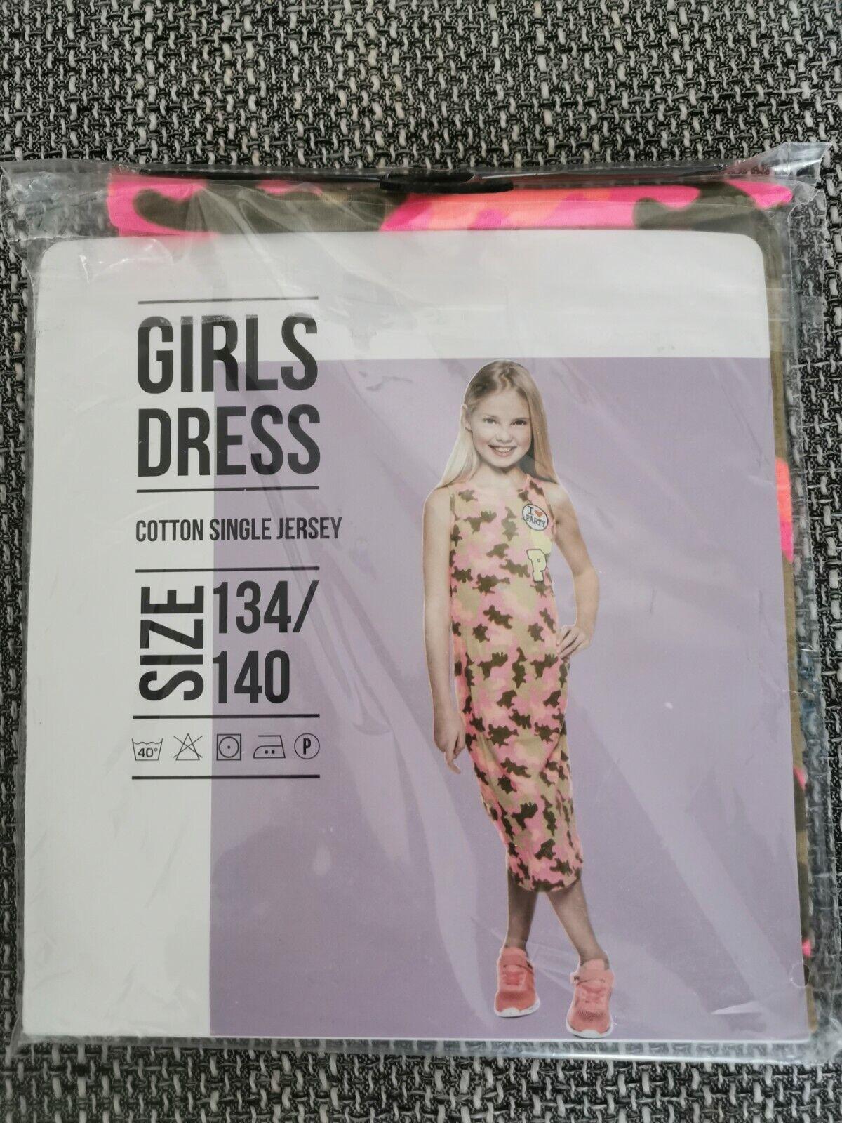 Mädchen Strand Sommer jersey MAXI NEON Kleid gr.134/140 Neu