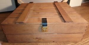Wooden-Crate-Style-Storage-Box-with-Leather-Hinges-amp-Metal-Clasp-36-x-30-x-11-cm