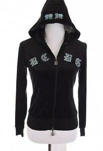 BCBG-Max-Azria-Womens-Velour-Sequin-Embroidered-Hoodie-Jacket-Black-Sz-Small