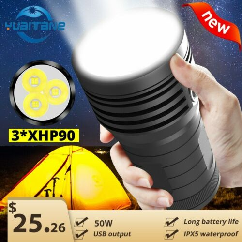 batería de Linterna LED para búsqueda Ultra potente 3 XHP90 de 300000LM