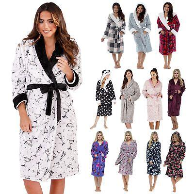 Ladies Womens Fleece Dressing Gown Luxury Coral Grey Cream Blue Aztec Heart Robe
