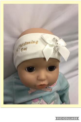 baby babies girl stretch headband headbands christening white ivory bow diamante