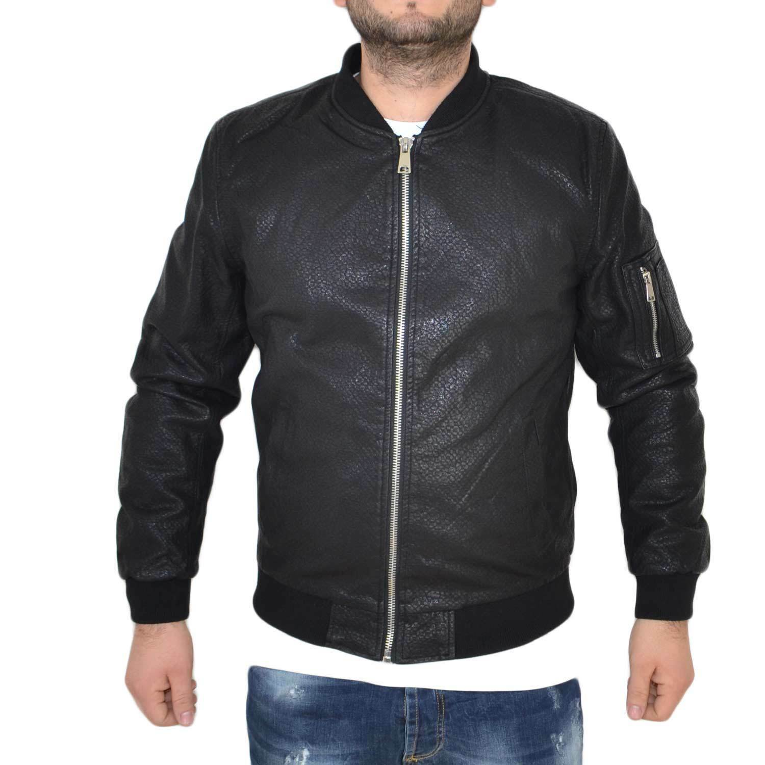 Giubbino in pelle art.2245 black con zip made in italy moda comfort