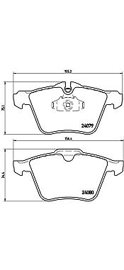 4-teilig Scheibenbremse Brembo P 23 077 Bremsbelagsatz